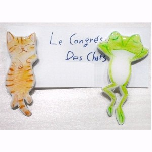 〔Le Congres Des Chats〕 カエルとネコのお昼寝(茶)