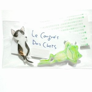 〔Le Congres Des Chats〕 カエルとネコのお昼寝(黒)